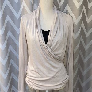 Banana Republic Modal Drape Front Faux Wrap Blouse